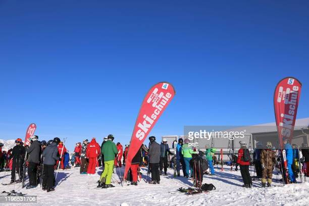 wagrain morning at ski school - pejft stock pictures, royalty-free photos & images