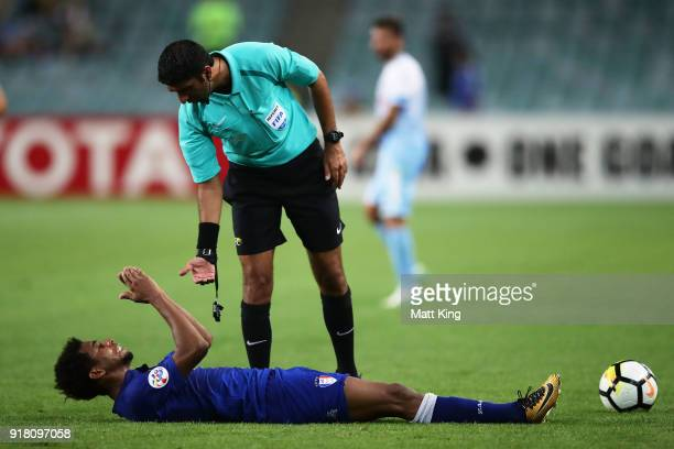 Waguininho of the Bluewings lies down during the AFC Asian Champions League match between Sydney FC and Suwon Bluewings at Allianz Stadium on...