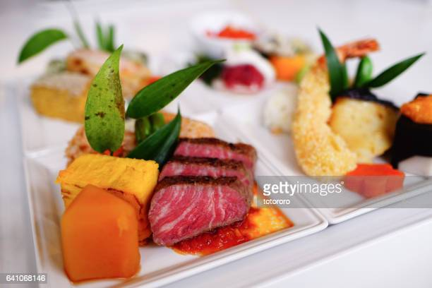 Wagyu Beef (和牛)(Japanese cow) and Kaiseki (懐石) Cuisine Plates