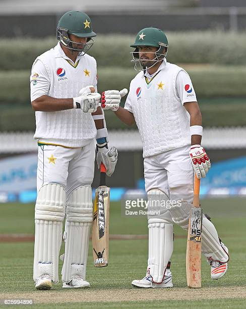 Wahab Riaz and Babar Azam of Pakistan during day three of the Second Test match between New Zealand and Pakistan at Seddon Park on November 27 2016...