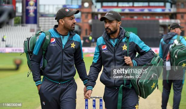 Wahab Riaz and Mohammad Amir of Pakistan ahead of the Group Stage match of the ICC Cricket World Cup 2019 between Pakistan and India at Old Trafford...