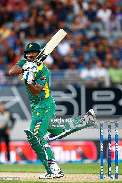 Wahab Riaz of Pakistan bats during the first T20 match at Eden Park on January 15, 2016 in Auckland, New Zealand.