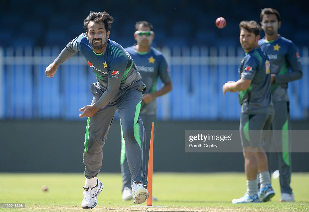 Wahab Riaz of Pakistan bowls during a nets session at Sharjah Cricket Stadium on October 31, 2015 in Sharjah, United Arab Emirates.