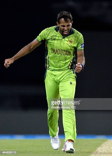 Wahab Riaz of Pakistan celebrates after taking the wicket of Brendan Taylor of Zimbabwe during the 2015 ICC Cricket World Cup match between Pakistan...