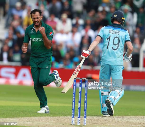 Wahab Riaz of Pakistan celebrates after taking the wicket of Chris Woakes during the Group Stage match of the ICC Cricket World Cup 2019 between...