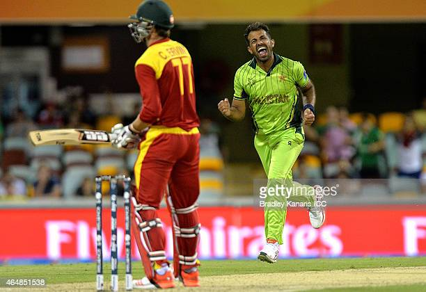 Wahab Riaz of Pakistan celebrates after taking the wicket of Craig Ervine of Zimbabwe during the 2015 ICC Cricket World Cup match between Pakistan...
