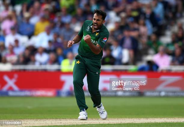 Wahab Riaz of Pakistan celebrates after taking the wicket of Jonny Bairstow of England during the Group Stage match of the ICC Cricket World Cup 2019...
