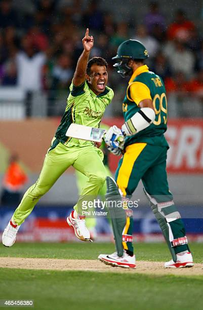 Wahab Riaz of Pakistan celebrates his wicket of Imran Tahir of South Africa to win the match during the 2015 ICC Cricket World Cup match between...