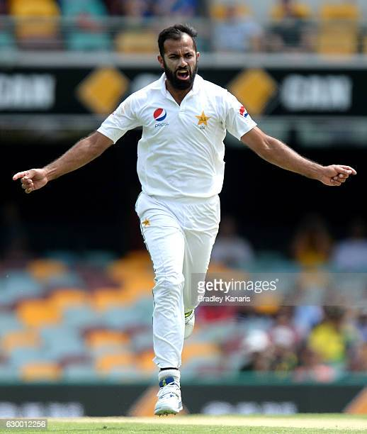 Wahab Riaz of Pakistan celebrates taking the wicket of Nic Maddison of Australia during day two of the First Test match between Australia and...