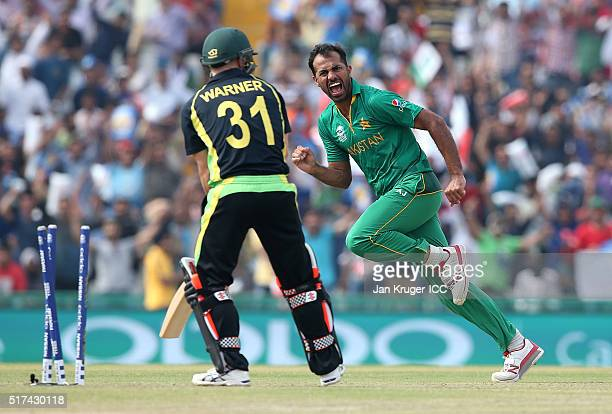 Wahab Riaz of Pakistan celebrates the wicket of David Warner of Australia during the ICC World Twenty20 India 2016 Super 10s Group 2 match between...
