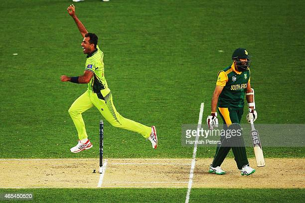 Wahab Riaz of Pakistan celebrates the wicket of Hashim Amla of South Africa during the 2015 ICC Cricket World Cup match between South Africa and...