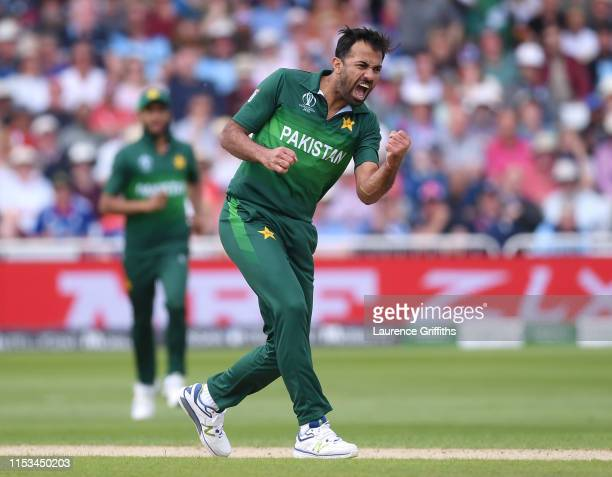 Wahab Riaz of Pakistan celebrates the wicket of Jonny Bairstow of England during the Group Stage match of the ICC Cricket World Cup 2019 between...