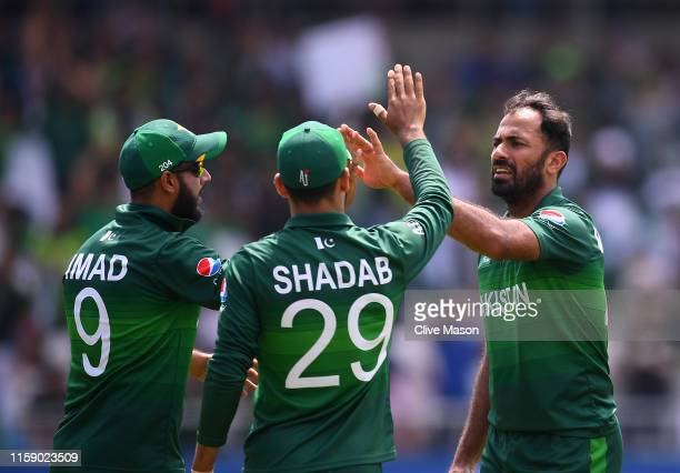 Wahab Riaz of Pakistan celebrates the wicket of Mohammad Nabi of Afghanistan during the Group Stage match of the ICC Cricket World Cup 2019 between...