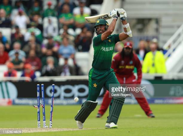 Wahab Riaz of Pakistan is bowled by Oshane Thomas during the Group Stage match of the ICC Cricket World Cup 2019 between the West Indies and Pakistan...