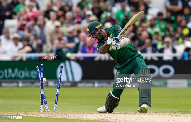 Wahab Riaz of Pakistan is bowled by Oshane Thomas of West Indies during the Group Stage match of the ICC Cricket World Cup 2019 between West Indies...