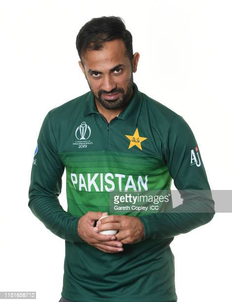 Wahab Riaz of Pakistan poses for a portrait prior to the ICC Cricket World Cup 2019 at on May 25, 2019 in Cardiff, Wales.