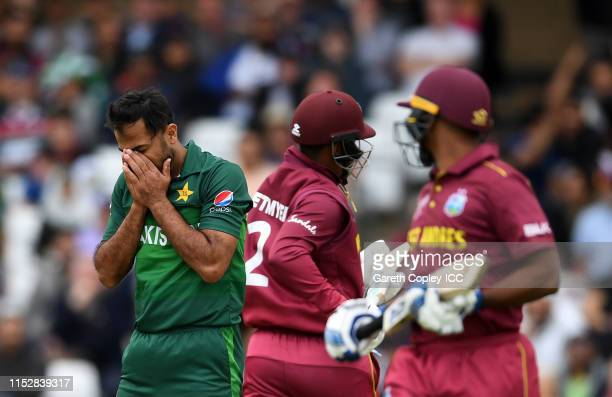 Wahab Riaz of Pakistan reacts during the Group Stage match of the ICC Cricket World Cup 2019 between West Indies and Pakistan at Trent Bridge on May...