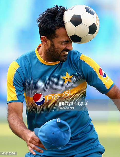 Wahab Riaz of Pakistan warms up during a nets session at Dubai International Cricket Ground on October 12, 2016 in Dubai, United Arab Emirates.