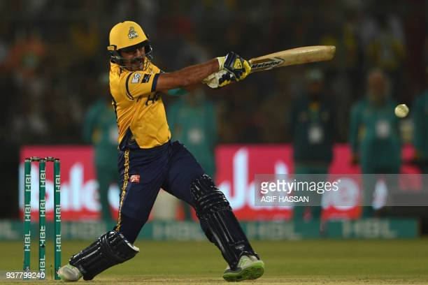 Wahab Riaz of Peshawar Zalmi plays a shot during the Pakistan Super League final match between Peshawar Zalmi and Islamabad United at the National...