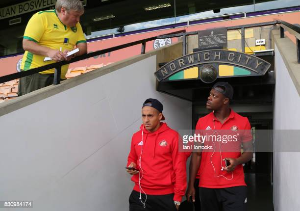 Wahbi Khazri and Lamine Kone of Sunderland arrive before the Sky Bet Championship match between Norwich City and Sunderland at Carrow Road on August...
