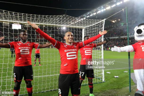 Wahbi Khazri of Rennes celebrates with the supporters after scoring two goals and defeating Nantes during the Ligue 1 match between Stade Rennais and...