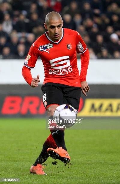 Wahbi Khazri of Stade Rennais during the French League Cup match between Stade Rennais and Paris Saint Germain at Roazhon Park on January 30 2018 in...