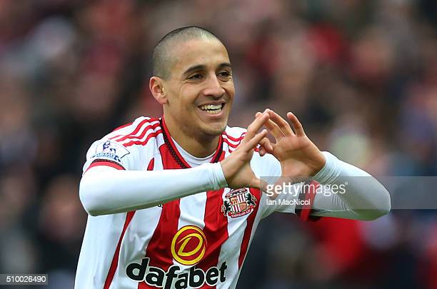 Wahbi Khazri of Sunderland celebrates scoring during the Barclays Premier m/ match between Sunderland and Manchester United at The Stadium of Light...