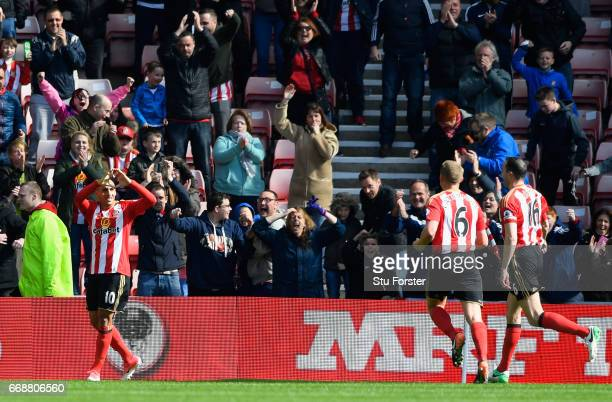 Wahbi Khazri of Sunderland celebrates scoring his sides first goal during the Premier League match between Sunderland and West Ham United at Stadium...