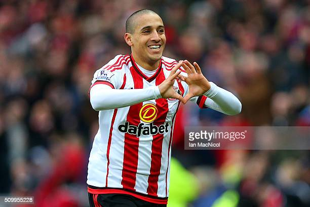 Wahbi Khazri of Sunderland celebrates scoring his team's first goal during the Barclays Premier League match between Sunderland and Manchester United...