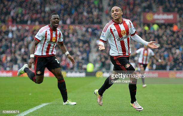Wahbi Khazri of Sunderland celebrates scoring his team's first goal during the Barclays Premier League match between Sunderland and Chelsea at the...