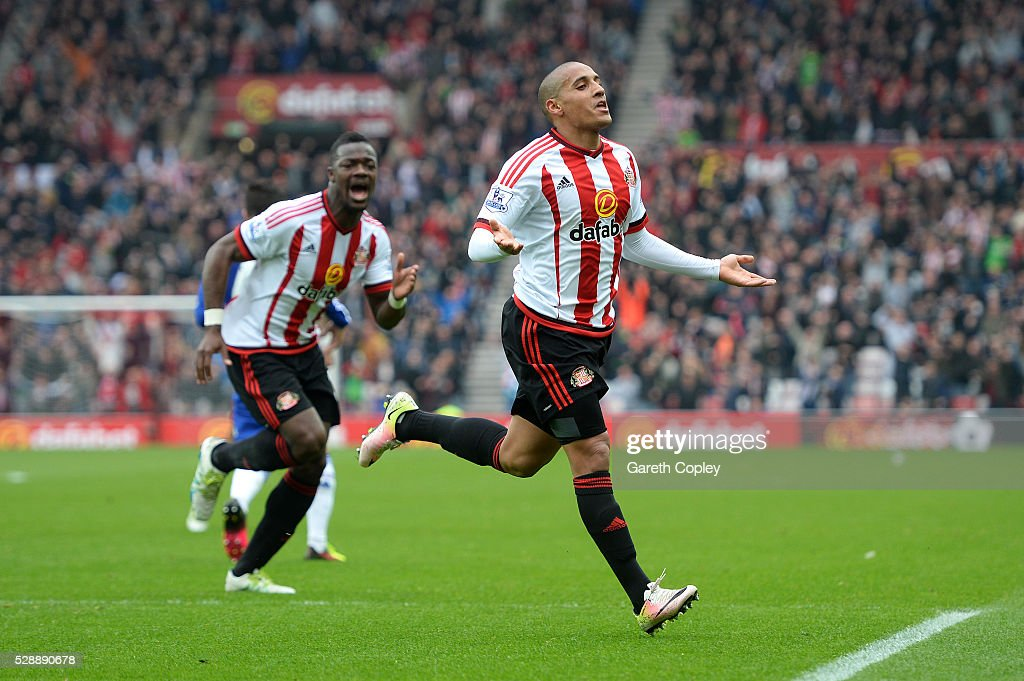 Wahbi Khazri of Sunderland celebrates scoring his team's first goal during the Barclays Premier League match between Sunderland and Chelsea at the Stadium of Light on May 7, 2016 in Sunderland, United Kingdom.