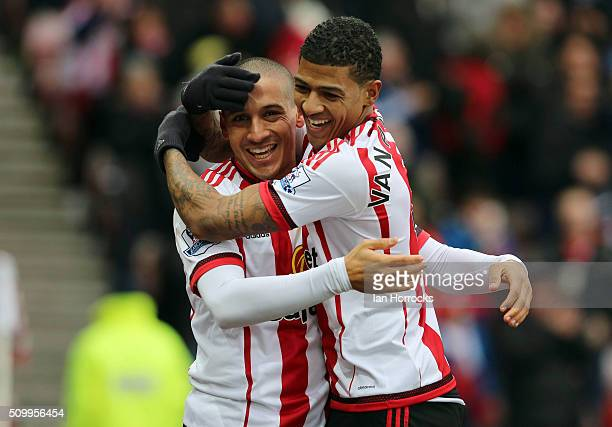 Wahbi Khazri of Sunderland celebrates the first goal with Patrick Van Aanholt during the Barclays Premier match between Sunderland and Manchester...