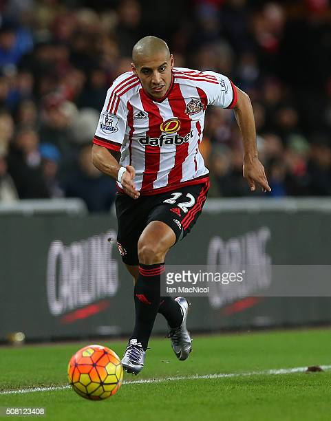 Wahbi Khazri of Sunderland controls the ball during the Barclays Premier League match between Sunderland and Manchester City at The Stadium of Light...
