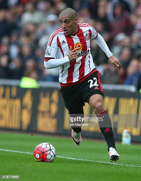Wahbi Khazri of Sunderland controls the ball during the Barclays Premier League match between Sunderland and West Bromwich Albion at The Stadium of...