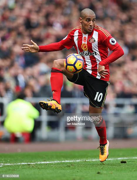 Wahbi Khazri of Sunderland controls the ball during the Premier League match between Sunderland and Arsenal at Stadium of Light on October 29 2016 in...
