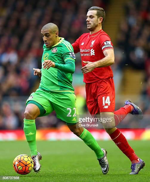 Wahbi Khazri of Sunderland controls the ball under pressure of Jordan Henderson of Liverpool during the Barclays Premier League match between...