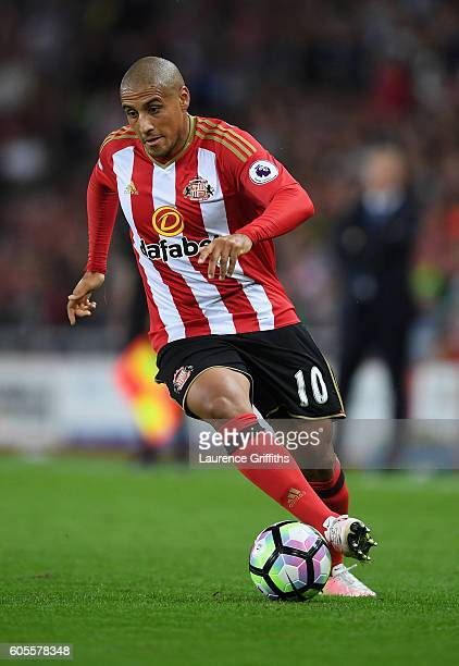 Wahbi Khazri of Sunderland in action during the Premier League match between Sunderland and Everton at Stadium of Light on September 12 2016 in...