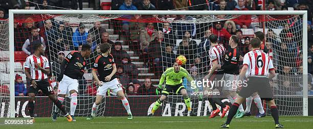 Wahbi Khazri of Sunderland scores their first goal during the Barclays Premier League match between Sunderland and Manchester United at Stadium of...