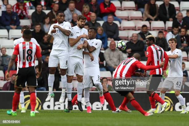 Wahbi Khazri of Sunderland takes a free kick during the Premier League match between Sunderland and Swansea City at Stadium of Light on May 13 2017...
