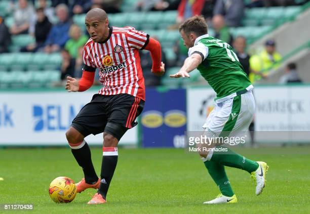 Wahbi Khazri of Sunderland takes on Lewis Stevenson of Hibernian in the first half during the pre season friendly between Hibernian and Sunderland at...