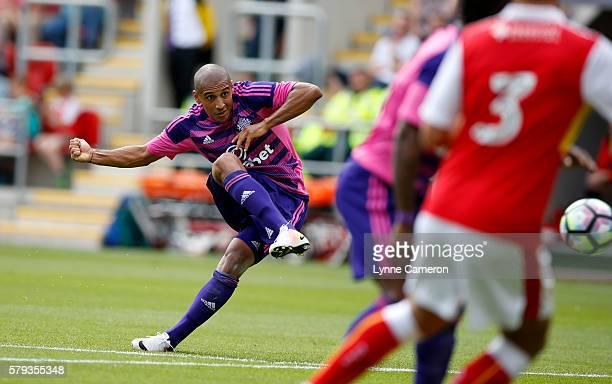 Wahbi Khazri of Sunderland takes shot on goal during a PreSeason Friendly match between Rotherham United and Sunderland at AESSEAL New York Stadium...