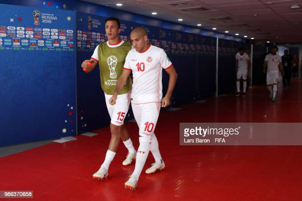 Wahbi Khazri of Tunisia and teammate Wahbi Khazri of Tunisia walks on the pitch for the second half during the 2018 FIFA World Cup Russia group G...
