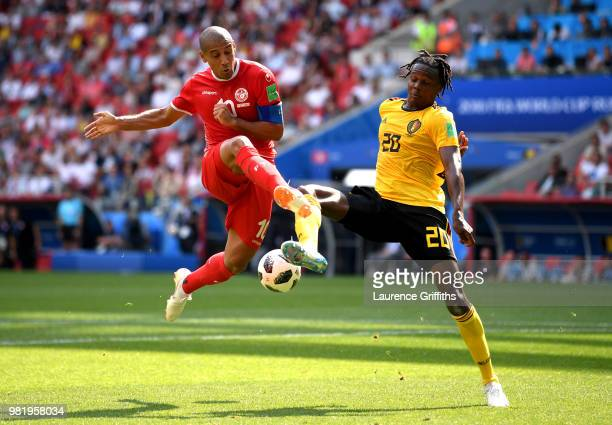 Wahbi Khazri of Tunisia battles for possession with Dedryck Boyata of Belgium during the 2018 FIFA World Cup Russia group G match between Belgium and...