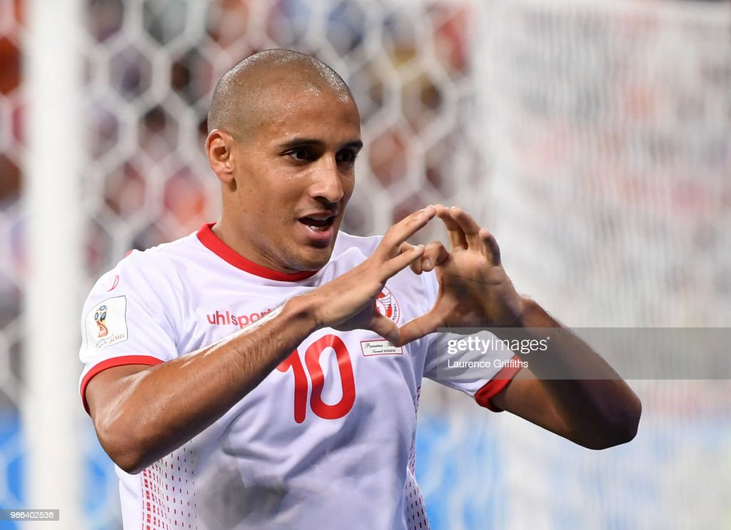 Wahbi Khazri of Tunisia celebrates after scoring his sides second goal during the 2018 FIFA World Cup Russia group G match between Panama and Tunisia at Mordovia Arena on June 28, 2018 in Saransk, Russia.