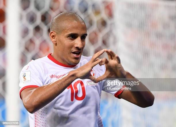 Wahbi Khazri of Tunisia celebrates after scoring his sides second goal during the 2018 FIFA World Cup Russia group G match between Panama and Tunisia...