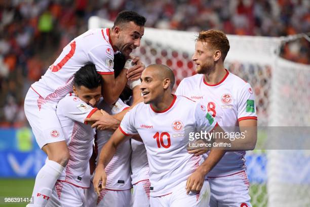 Wahbi Khazri of Tunisia celebrates with teammates after scoring his sides second goal during the 2018 FIFA World Cup Russia group G match between...
