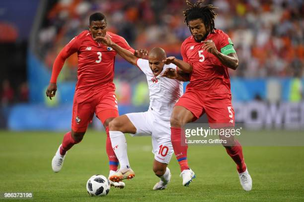 Wahbi Khazri of Tunisia challenge for the ball with pan5a and Harold Cummings of Panama during the 2018 FIFA World Cup Russia group G match between...