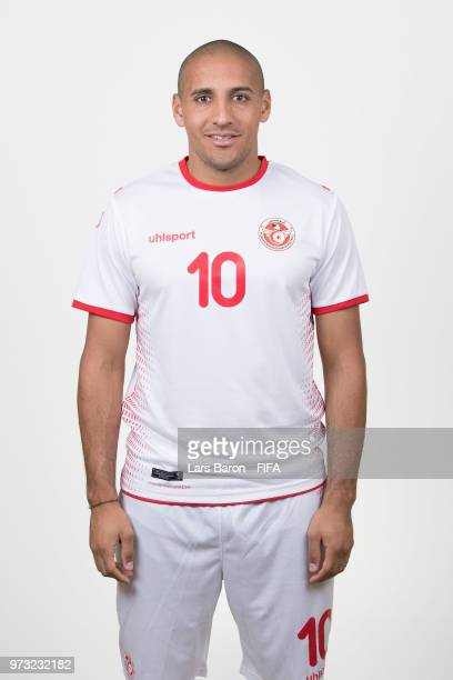 Wahbi Khazri of Tunisia poses during the official FIFA World Cup 2018 portrait session on June 13 2018 in Moscow Russia