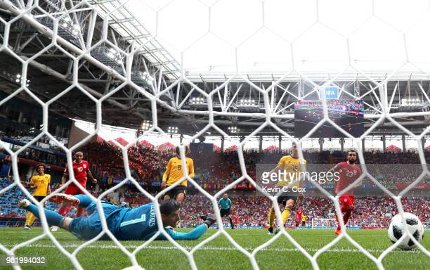 Wahbi Khazri of Tunisia scores his team's second goal past Thibaut Courtois of Belgium during the 2018 FIFA World Cup Russia group G match between...