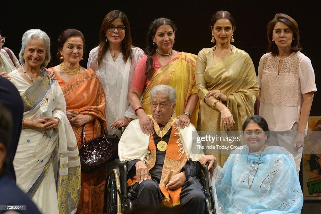 Waheedha Rahman Asha Parekh Zeenat Aman Shabana Azmi Rekha Neetu Kapoor and Supriya Pathak with Shashi Kapoor at the Dadasaheb Phalke Awards where...